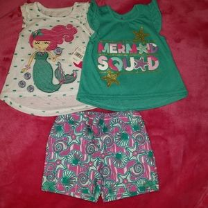 24 month baby girl 3 PC mermaid outfit